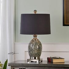 "NEW 25"" CRACKLED TAUPE GRAY GLASS  BRUSHED NICKEL METAL TABLE LAMP LINEN SHADE"