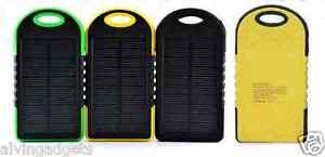 Water Resistant Solar Power Bank 15000mAH With LED Flashlight Dual USB(Yellow)