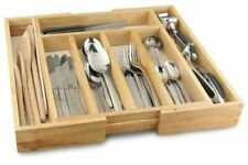 Expandable Wooden Cutlery Tray Bamboo Wood Tidy Drawer Organiser Storage Holder