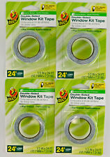 Lot of 4 Duck Brand Double-Sided Window Kit Tape Indoor 1/2 Inch x 24 Feet Each