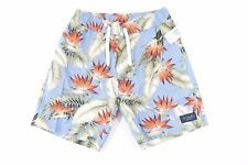 BARNEY COOL HAWAIIAN FLORAL BLUE 30 LINEN BLEND DRAW STRING SHORTS MENS NWT NEW