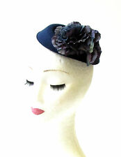 Navy Blue Carnation Flower Pillbox Hat Fascinator Races Rockabilly 1950s 2069