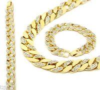 14k Gold Finish Iced Out Hip Hop CZ Chain & Bracelet Mens Miami Cuban Necklace