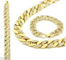 14k Gold Finish Iced Out Hip Hop CZ Chain & Bracelet Mens Miami Cuban Necklace