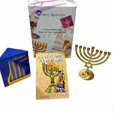 Hanukkah Gift Set with menorah, candles and book God's Lamp, Man's Light. NEW