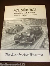 ROLLS ROYCE ENTHUSIASTS BULLETIN #192 - MAY 1992 BEST IN ANY WEATHER