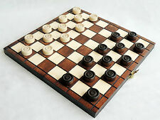 NEW TRAVEL WOODEN DRAUGHTS / CHECKERS SET 25cm x 25cm