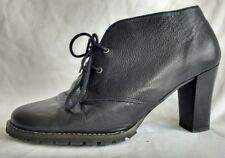 Womens Ladies Mellow Yellow Black Leather Shoes Ankle Boots Size 5/38 Used