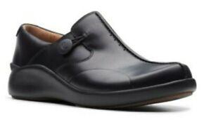 CLARKS LADIES *UN LOOP2 WALK * SLIP ON  BLACK LEATHER WIDE-FIT SHOES UK 6.5 E