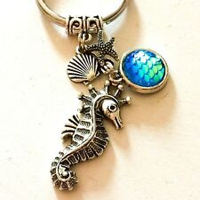 Ocean Inspired Sea Horse & Turquoise Blue Mermaid Tail Silver Keychain Gift