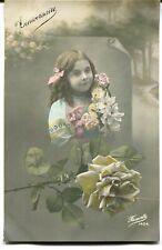 CPA - Carte Postale - Fantaisie - Petite Fille - Fleurs - Anniversaire - 1912 (M