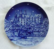 Weihnachtsteller 1991 Wandteller Albrechtsburg mit Dom zu Meissen Porzellan blau