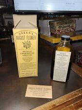 Vintage 1900s Nos Greens August Flower Quack Medicine Btl. Warren Pa Myers Labs