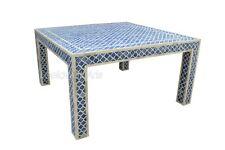 Indian Handmade Bone Inlay Mughal Design Coffee Table Blue Color