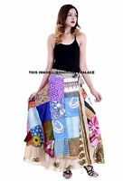 Satin Soie Patchwork Enroulé Floral Hippie Bohémien Indien Long Femme Jupe