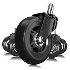 Office Chair Wheels Black Replacement Rubber Chair Casters For Hardwood Floors
