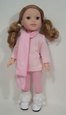 """3pc Pink LEGGINGS TOP SCARF Doll Clothes For 14"""" AG Wellie Wisher Wishers (Debs"""