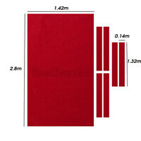 US 2.8x1.42m Red Pool Table Cloth Felt 6x Strips For 9FT Snooker Billiards Table