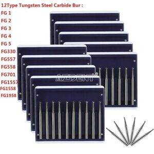 12 Model Dental Tungsten Steel Carbide Cutting FG Burs for High Speed Handpiece