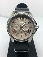 Fossil AM4628 Women's Black Leather Analog Taupe Dial Quartz Genuine Watch HG111