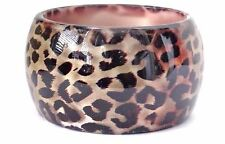 LARGE THICK BANGLE HEAVY ACRYLIC LEOPARD PRINT PEARL OR GOLDEN BANGLE 2 INCH