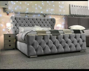 Plush Wingback Chesterfield Bed