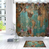 US Dollars & World Map Bathroom Waterproof Fabric Shower Curtain Liner 12 Hooks