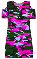 Girls New Camo Cold Shoulder Midi Dress Pink Party Summer Dresses Age 5-13 Years