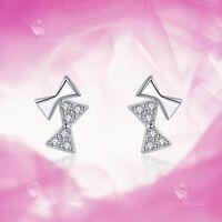 925 silver earrings simulated diamond bow tie stud kids baby jewelry