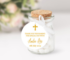 10 White Gift Tags Thank you Favour Personalised Baptism Christening Bomboniere