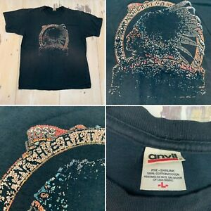 INDIAN MOTORCYCLES - Vtg 1980s Black Distressed Faded T-shirt, Mens LARGE