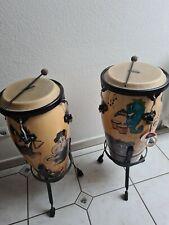 Bongo Trommel von Nino+ Tiermotive(Limitiert)Sehr guter Zustand+2Schlagstöcke.