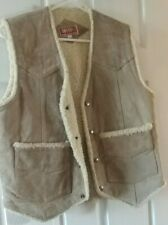 """Ladies Sleeveless Sherpa Lined Natural Brown """"Destry"""" Leather Vest Size Small"""