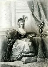 Marie Antoinette Queen of France... antique engraving....1856