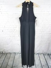 Almost Famous Womens Jumpsuit Size L Black High-Neckline Stretch Sleeveless NEW