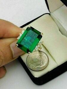5.00 CT Vert Émeraude & Anneau Fiançailles Diamant 14k Jaune or Sur