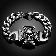 Edelstahl Armband Skull&Cross Eisernes Kreuz Totenkopf Death Head Biker MC AB05
