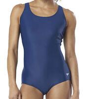 NWT Speedo Womens Swimsuit One Piece Powerflex Ultraback Solid Teal Size 10