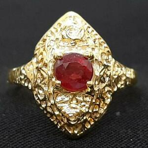 Antique Filigree .45ctw Mozambique Ruby 14K Yellow Gold 925 Silver Ring Size 6.5