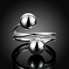 New Women Man Fashion Sterling Silver Adjustable Ring Round Ball Open Rings Gift