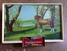 Vintage 1950's Budweiser Clydesdale Horse Lighted Sign. Approx 13 x 20""