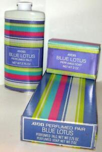 Avon PERFUMED PAIR Blue Lotus Talc Powder 2.75 oz & Soap 1970 NOS NIB