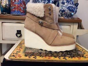 Womens Coach Sheepskin Wool Boots, Kenna Style, Size 40-US-10B