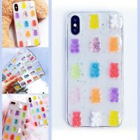 Candy Colour Gummy Bear Clear Back Case For iPhone 8 XS XR 11 12 MINI PRO MAX