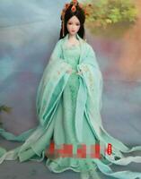 1/6 Retro Hanfu Costume for 12'' Female Action Figure Bjd Doll Green Dress Set