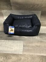 WASHABLE NAVY FAUX LEATHER LARGE DOG BED PET BED DOGBED PETBED
