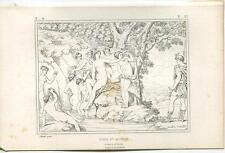 Antique Greek Mythology Artistic Nude Huntress Diana Water Nyhms Bathing Print