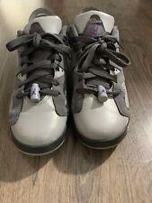 K016 Jordan Retro 6 Low - Girls PS 768884-008 Size 6.5 Gray/Green/Purple