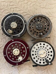 Four Vintage Fly Reels, South Bend, Pflueger, 2 Martin's