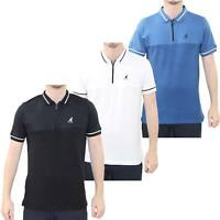 Men T Shirt Kangol Zip Polo Shirt Striped Pattern Short Sleeve T-shirt Top S-2XL